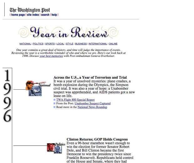 Washington Post website image, from 1996