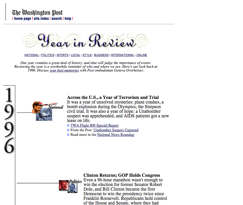Washington Post website image, from 1996